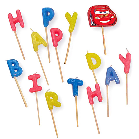 Sviečky Cars Happy Birthday na paličke