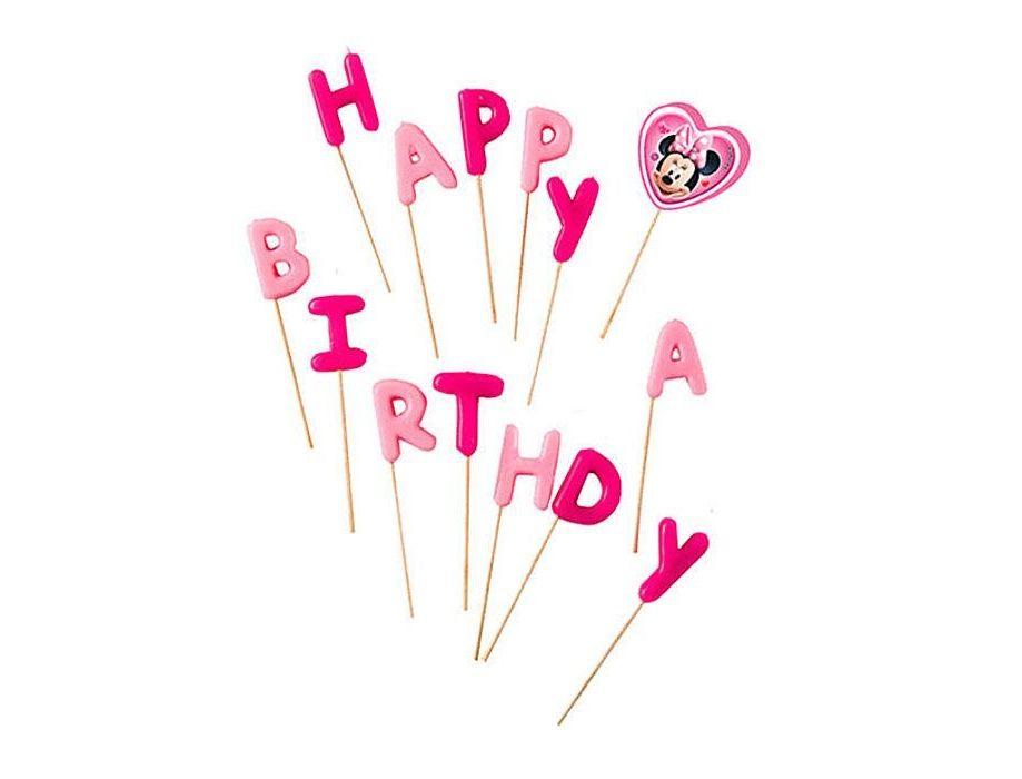 Sviečky Happy Birthday Minnie zapichovacie