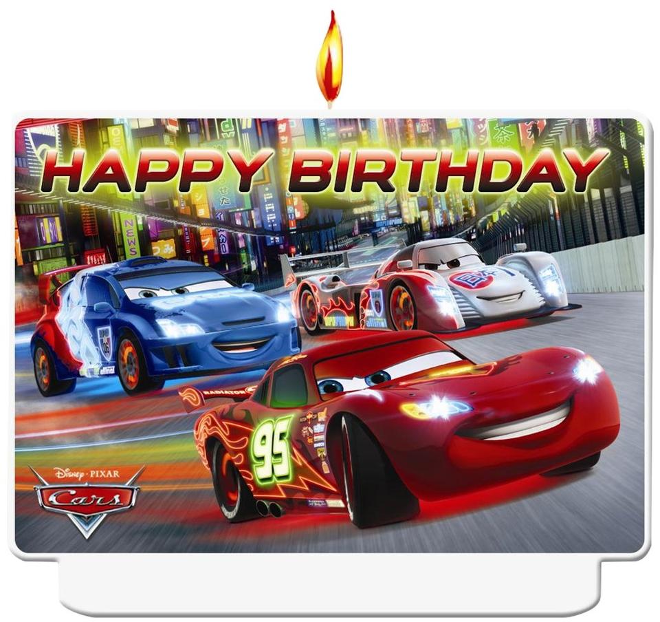 Sviečka Happy Birthday Cars