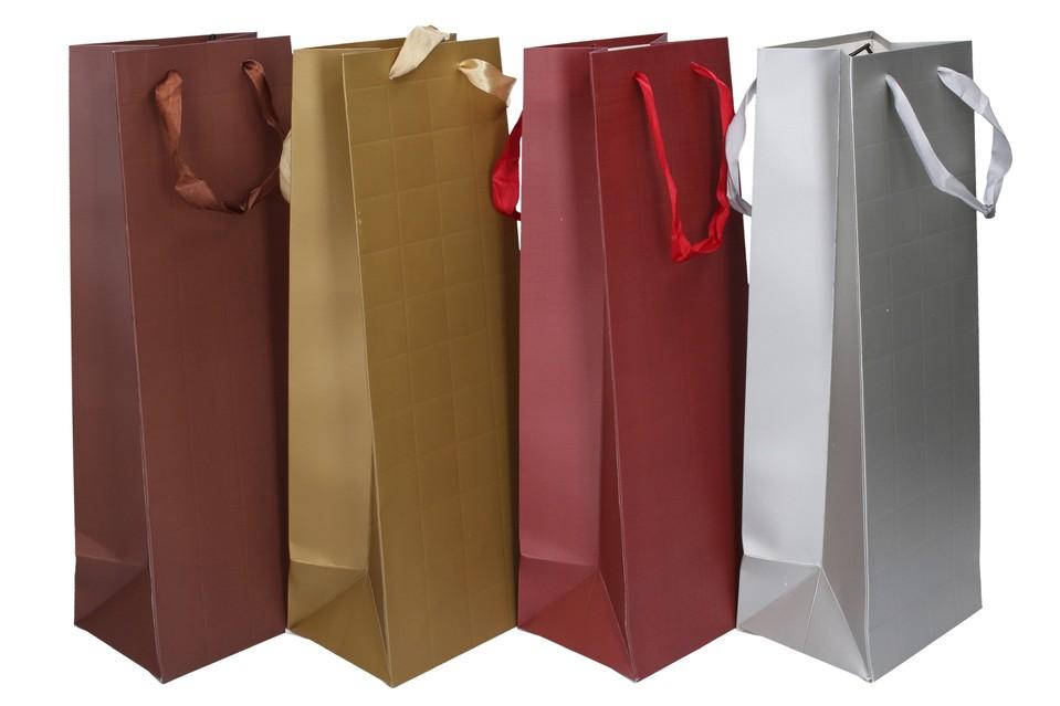 Darčeková taška na fľašu 35x12x10cm - hnedá