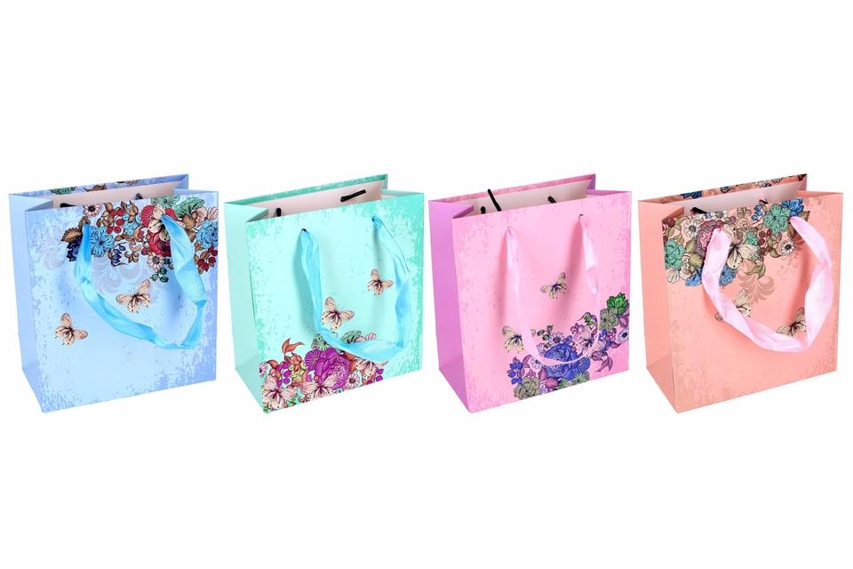 Darčeková taška kvety a motýle 14x7x15cm