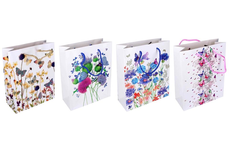 Darčeková taška motýle a kvety 18x23x8cm