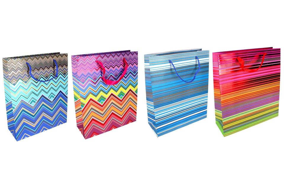 Darčeková taška Dúhové čiary a tvary 26x32x10cm