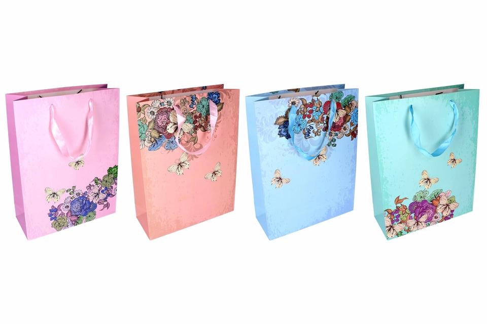 Darčeková taška kvety a motýle 30x12x40cm