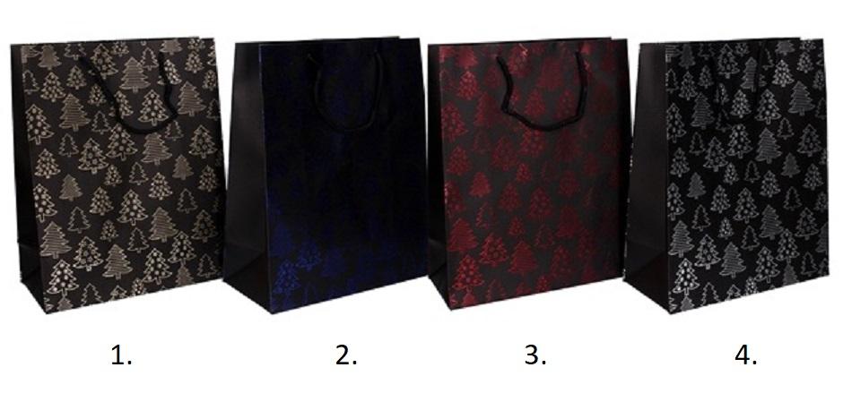 Vianočná darčeková taška 33x12,5x23,5cm - modrá