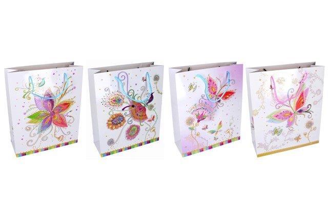 Darčeková taška kvety a motýle 26x32x10cm