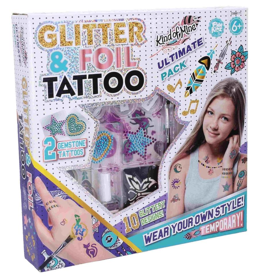 Tetovacia sada s trblietkami a nálepkami