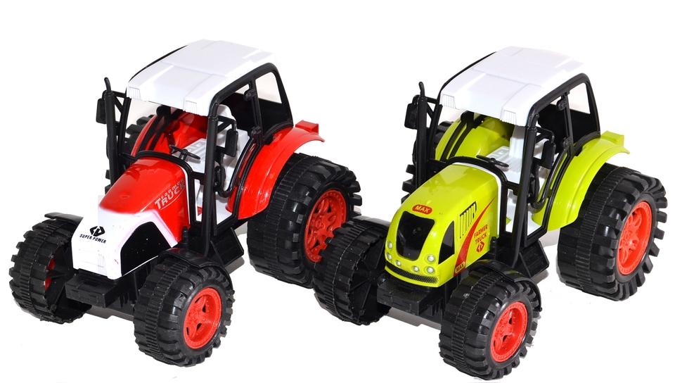 Traktor na zotrvačník 14cm - červená