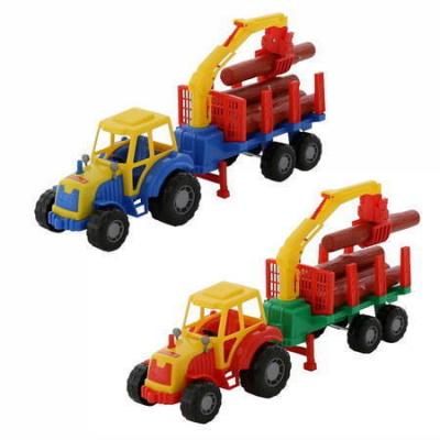 Traktor s nakladačom a drevom 2farby - modrá
