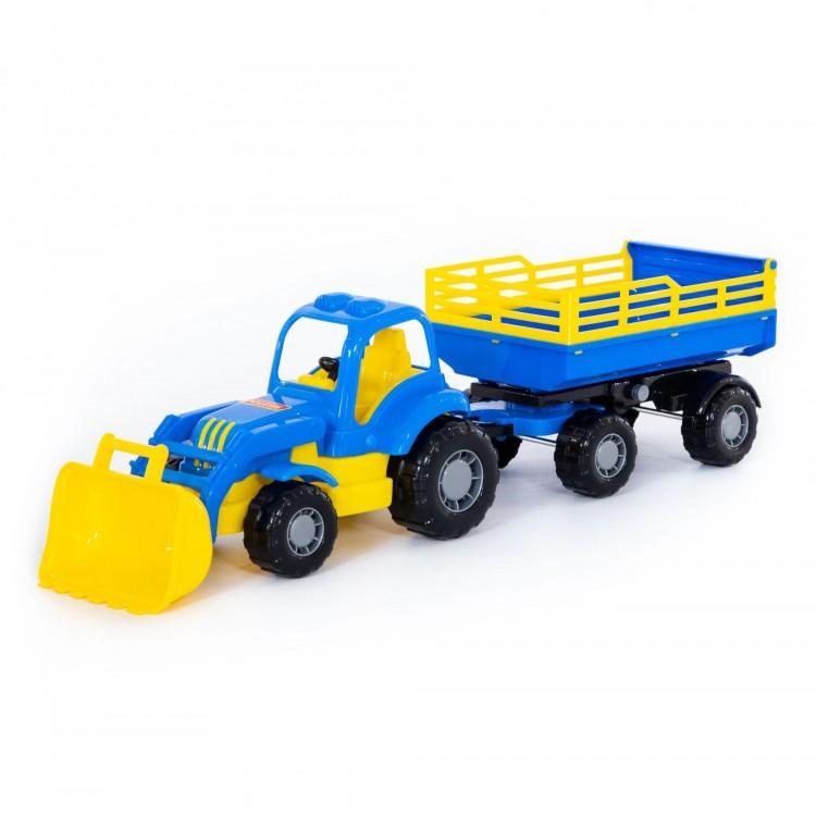Traktor-nakladač s vlečkou 46cm - modrá