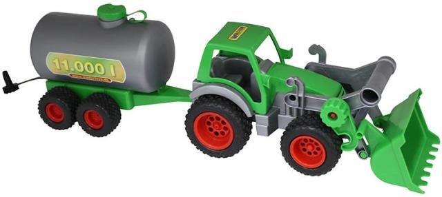 Traktor s lyžičou a cisternou
