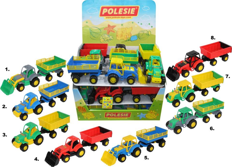 Traktor s vlečkou 45 cm, rôzne druhy