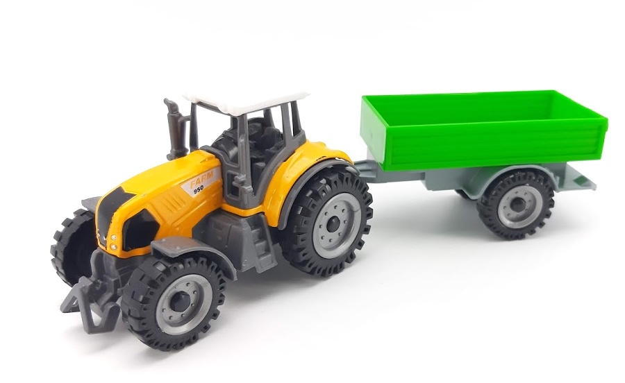 Kovový Traktor s vlečkou 18cm - zelená