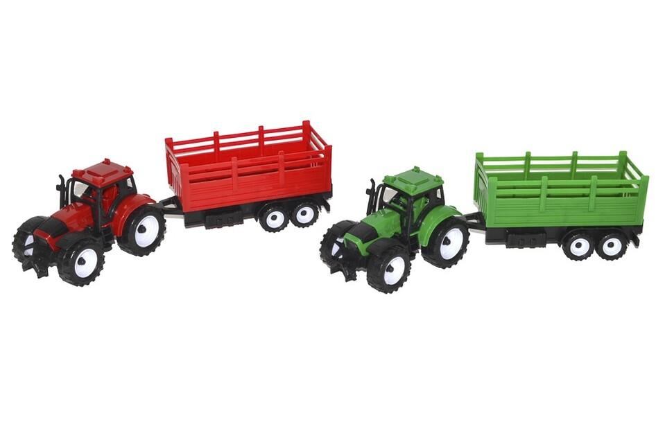 Traktor s vlečkou na zotrvačník 27cm - zelená