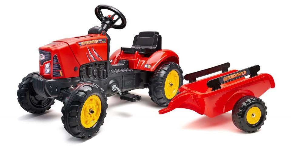 Traktor šliapací s vlečkou červený