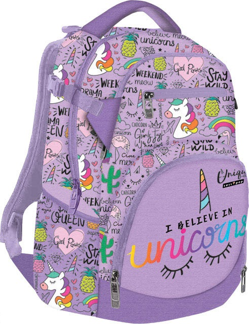 Školský batoh Lollipop Unicorn fialový