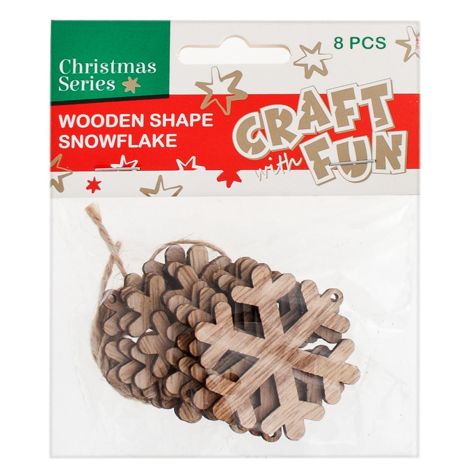 Vianočná dekorácia Drevená snehová vločka na zavesenie 8ks - zelená