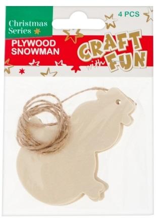 Vianočná dekorácia Drevený snehuliak na zavesenie 4ks
