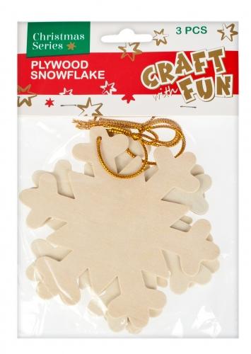 Vianočná dekorácia Drevená snehová vločka 3ks