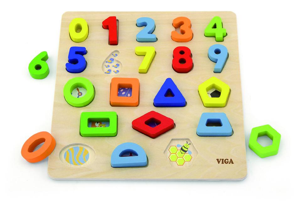 Viga drevená vkladačka čísla a tvary