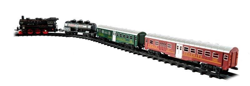 Vlak 3 vagóny a kolajnice