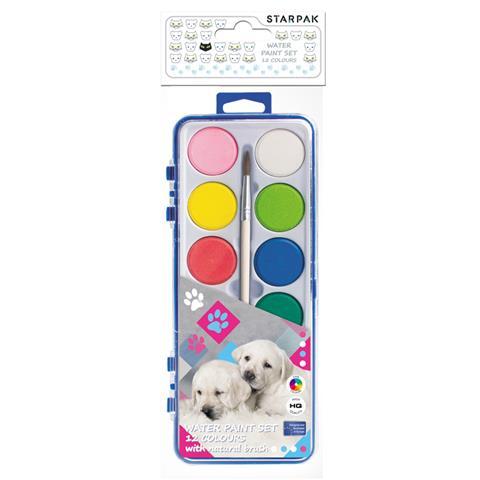 Vodové farbičky Pes 12farieb+štetec