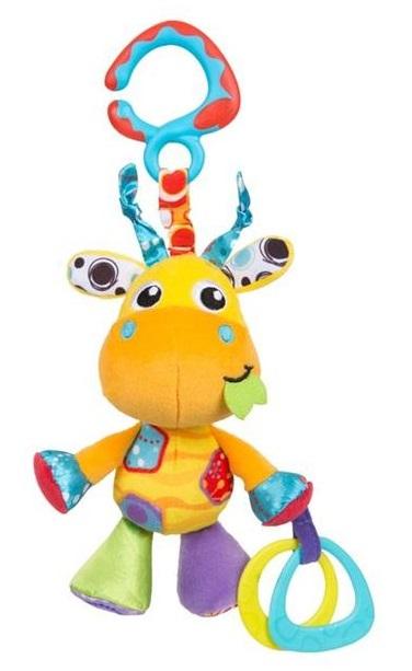 Playgro Plyšová žirafa s hryzátkom a hrkálkou na zavesenie