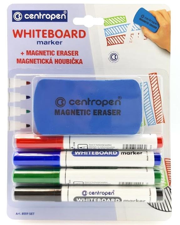 Popisovače na tabuľu 4ks s magnetickou hubkou