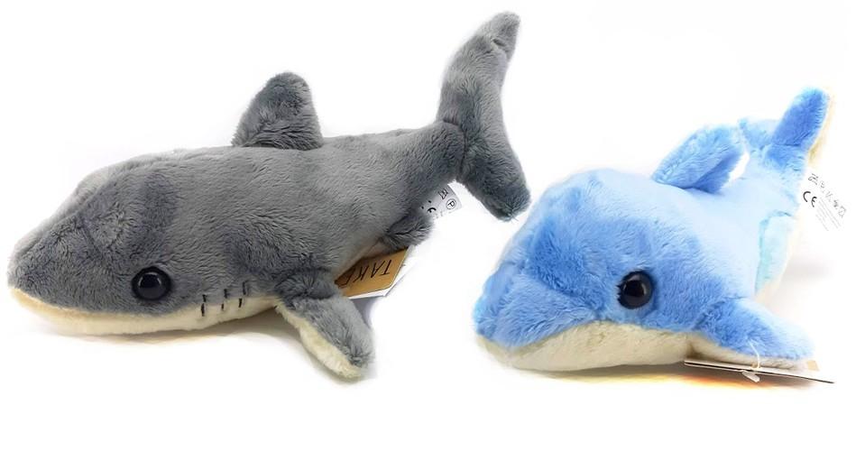 Plyšový žralok, delfín 22cm - náhodná